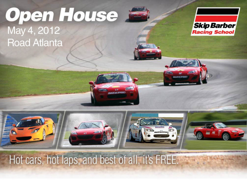 Skip Barber Road Atlanta Open House 2012 Miata MX5 Cup Car Skid Pad Hot Laps